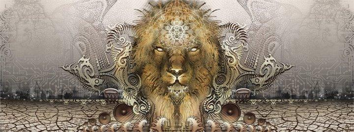 Lion emerging from Desert
